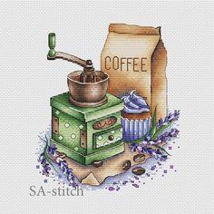 """Punto De Cruz Cross stitch design """"Coffee grinder with lavender"""" Cross Designs, Cross Stitch Designs, Cross Stitch Patterns, Learn Embroidery, Cross Stitch Embroidery, Embroidery Patterns, Cross Stitch Kitchen, Cute Cross Stitch, Embroidery Techniques"""