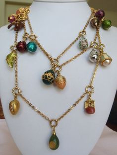 """57"""" LONG JOAN RIVERS ENAMEL EGG CHARMS RUSSIAN INSPIRED EXTENDER NECKLACE #Charm"""