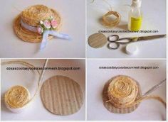 Straw hat how-to Diy Dollhouse, Dollhouse Miniatures, Bijoux Wire Wrap, Diy And Crafts, Crafts For Kids, Hat Crafts, Mini Craft, Bottle Cap Crafts, Diy Hat