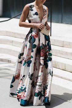 Stylish Floral Print Sleeveless Maxi Dress