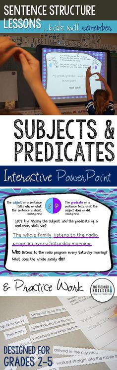 Subjects and predicates CAN be fun! An interactive PowerPoint lesson packed with clever memory aids, fresh practice sentences, and tons of animations to keep your students engaged in learning how subjects and predicates work within the structure of a sentence. Comes with practice work and assessment too. Gr 2-5 ($)