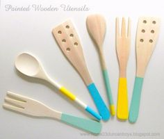 Super cute & frugal... paint your wooden cooking utensils.