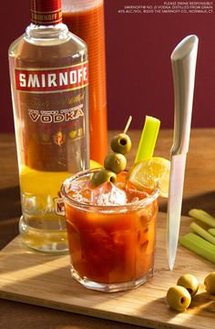 Kick off the New Year with a delicious drink and basically keep your resolutions too.   Just mix 1.5 oz Smirnoff Vodka, 3oz Bloody Mary Mix, Garnish with A Vegetable Medley
