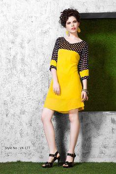 Yellow Viscose Designer Kurti