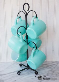Beautiful all turquoise Hazel Atlas coffee mugs.