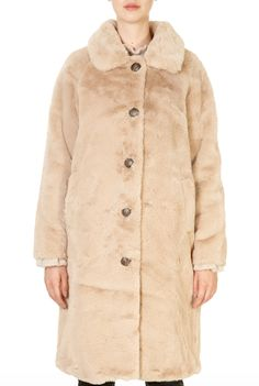 'Zonna' Dusty Pink and Beige Faux Fur Coat - Jessimara Beige Faux Fur Coat, Winter Coats Women, Dusty Pink, Shop Now, Winter Season, Glamour, Stylish, Jackets, Friends