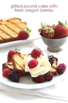 Grilling takes low carb pound cake to a whole new level. Add some lightly sweetened whipped cream and fresh berries and it's the perfect summer treat. // @dreamaboutfood