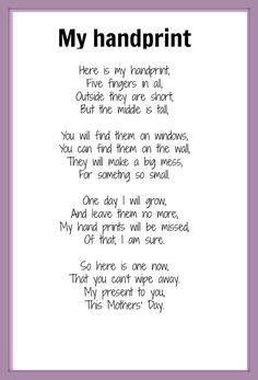Handprint Poem | Mother's Day poem