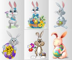 Easter Bunny with flowers and eggs vector. We have over 10,000+ pictures. All images on the site vectorpicfree.com free for download and ready for print.