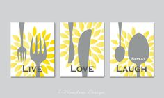 Modern Kitchen Art Print Set -Live Love Laugh Repeat - Set of (3)  Prints - Yellow, Grey and White// Modern Kitchen