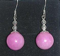 Pink jade ball with silver drop earrings Silver Drop Earrings, Silver Necklaces, Pearl Earrings, Bangle Bracelets, Bangles, Jade Pendant, Dragon Art, Lucky Charm, Gemstone Jewelry
