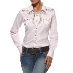 Ariat Western Shirt Womens Skylar Pink Long Sleeve « Clothing Impulse--- To match my future white tack set :D