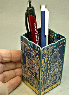 Recycled 24K GOLD Circuit Board Blue Office by DebbyAremDesigns