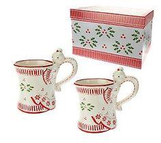 Temp-tations Figural Angel Set of 2 12oz Mugs w/ Gift Box. (QVC Christmas in July Sale)