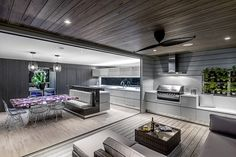 Small Brisbane design firm wins big in London - The Interiors Addict Outdoor Areas, Outdoor Rooms, Outdoor Furniture Sets, Indoor Outdoor Kitchen, Outdoor Kitchen Design, Outdoor Kitchens, Alfresco Designs, Alfresco Ideas, Built In Bbq