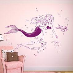 Wandtattoos - Wandtattoo Meerjungfrau Nixe Delfin m. Namen M1610 - ein Designerstück von IlkaParey bei DaWanda