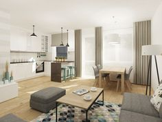 Salon z aneksem kuchennym - pomysły na aranżacjeBlog Activ Investment