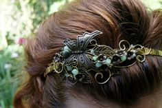 Vintage Headband with butterfly, 1920s, 1930s, Wedding hair band, Spring blossom headband by RomanticElfJewelry on Etsy
