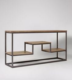 Swoon Editions Console table, industrial style in mango wood and aged steel - £349