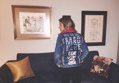 David Bowie + Alice in wonderland quote vintage denim custom jacket by @ceuhandmade
