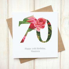 70th Birthday Card - Birthday Card for Her - Floral Birthday Card - Botanical Greetings Card - Grandma Birthday Card - Milestone Birthday - Etsy - LetsDreambyChiChiMoi