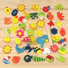 Free Shipping 12pcs(1Pack)/Lot Cartoon Funny Baby Toy Wooden Fridge Magnet Refrigerator Magnets Gift FZ1370 n2l