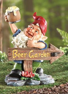 Beer Garden Gnome Lawn Ornament - cheers is in order for this whimsical garden gnome.  He's a must have for any gardener, especially if you like BEER.  And if you're into Oktoberfest parties, make sure this little guy is invited!