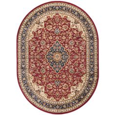 Sensation Red 5 ft. 3 in. x 7 ft. 3 in. Oval Traditional Area Rug