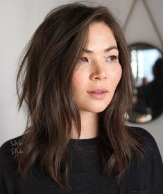 Top 60 Flattering Hairstyles for Round Faces - Middle Asian Nubs . - Top 60 Flattering Hairstyles for Round Faces – Medium Asian Pimple for Round Faces – - Thin Hair Cuts, Long Thin Hair, Medium Hair Cuts, Medium Hair Styles, Curly Hair Styles, Round Face Long Hair, Medium Asian Hair, Hair For Round Face Shape, Square Face Hairstyles