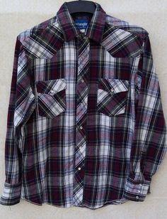94900850 Details about Vintage Wrangler Pearl Snap Men's Flannel Shirt L Tag