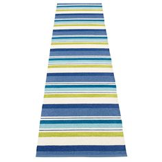 Pappelina Folke runner rug, bright and cheery in its 3 colourways, features different band widths for a striking look, classic Pappelina Scandi design. We just love this statement look, so bright and contemporary. Weaving plastic rugs and carpe Soft Plastic, Rug Runner, Beach Mat, Hand Weaving, Outdoor Blanket, Traditional, Contemporary, Rugs, Blue