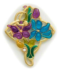 Art Nouveau Plique-à-jour, Diamond And Gold Pendant - Euguerrand du (Count) Suau de La Croix, Paris