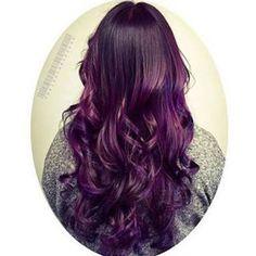 Rolling in the Deep (Purple) Sombré Dark Purple Hair, Brown Ombre Hair, Hair Color Purple, Purple Ombre, Cool Hair Color, Deep Purple, Dark Hair, Hair Colours, Elumen Hair Color