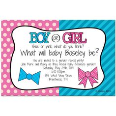 Bow or Bowtie Personalized Party Invitations for a Gender Reveal Party!