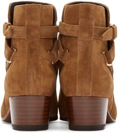Saint Laurent: Brown Suede Blake Boots | SSENSE