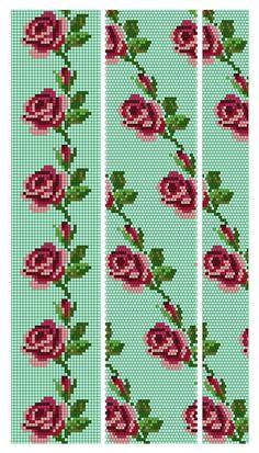 Crochet Bracelet Pattern, Bead Crochet Patterns, Seed Bead Patterns, Bead Crochet Rope, Beaded Bracelet Patterns, Beading Patterns, Beaded Embroidery, Cross Stitch Embroidery, Cross Stitch Patterns