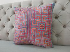 Vintage Cotton Tribal Hand Print Patch Work Pillow by shopthailand