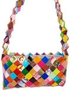 Small handmade candy wrapper handbag. #shopgoodwill
