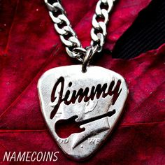 Custom Guitar Pick Necklace, Name Jewelry, Big Pick Hand cut and burni – NameCoins Music Jewelry, Name Jewelry, Custom Jewelry, Guitar Pick Necklace, Coin Necklace, Necklaces, Custom Guitar Picks, Half Dollar, Coin Pendant