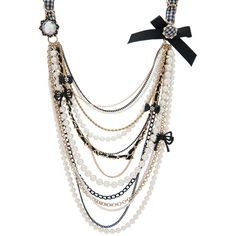 Pearl Multi Chain Long Necklace ($75) ❤ liked on Polyvore featuring jewelry, necklaces, accessories, betsey johnson, collares, women, multiple strand pearl necklace, multi-chain necklace, white pearl necklace and long pearl necklace