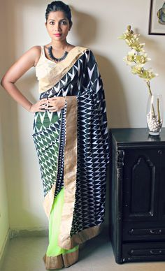 Neon green and black with geometric design pallu and gold border Bollywood Saree, Bollywood Fashion, Indian Attire, Indian Wear, Pakistani Outfits, Indian Outfits, Ethnic Fashion, Asian Fashion, Modern Saree