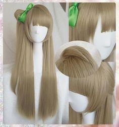 Minami Kotori Linen Brown Cosplay Hair Wig + Bow Hairpin