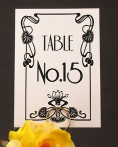 Vintage Glam 1930's Gatsby Inspired Art Deco Old Hollywood Table Number Cards in Black and White