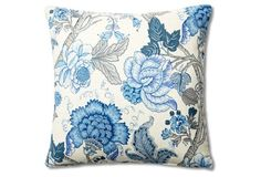 Floral 20x20 Pillow, Blue