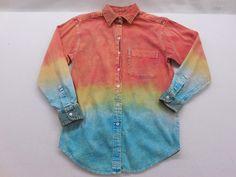 Mens  Vintage Tie Dye Denim Corduroy Trim Button Up Shirt M by KCteedesigns on Etsy