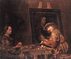 Tableau d'Aert de Gelder montrant une toile en cours d'élaboration, non encore tendue sur un châssis, mais tenue provisoirement par des cordes à une armature en bois.