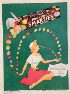 Rowntree Smarties ~ Australia 1956. Vintage Labels, Vintage Ads, Vintage Posters, Vintage Food, Funny Vintage, Vintage Sweets, Retro Sweets, Retro Advertising, Vintage Advertisements