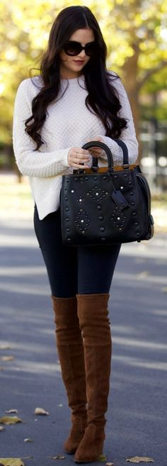 #fall #fashionistas #outfits | Black And White   Camel Overknees