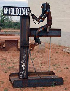 Miller - Welding Projects - Idea Gallery - Welding Sign Lol this US so cool Miller Welding, Shielded Metal Arc Welding, Metal Welding, Diy Welding, Welding Crafts, Welding Funny, Welding Design, Welding Shop, Welding Classes