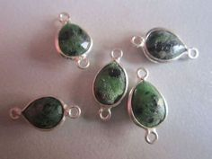 NATURAL GREEN RUBY ZOSITE PEAR STERLING SILVER 5 PCS CONNECTORS 9X11MM